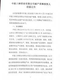 中航三林铝业有限公司破产重整投资人招募公告